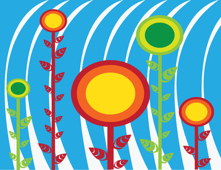 Abstract sunflowers vector Illustration