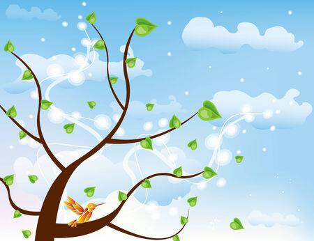 Abstract tree vector Illustration spring autumn