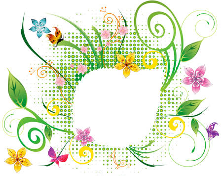 abstract flower spring illustration vector green Stock Vector - 8589137
