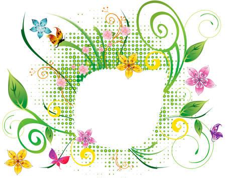 abstract flower spring illustration vector green