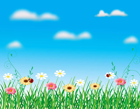 abstract nature flower landscape blue sky grass vector Ilustracja