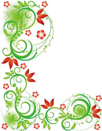 abstract flower spring illustration vector green red Illustration