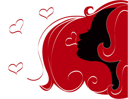 abstract women illustration vector silhouette red Hair Vector