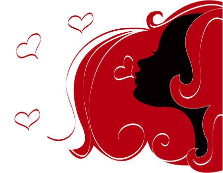 abstract women illustration vector silhouette red Hair Ilustracja