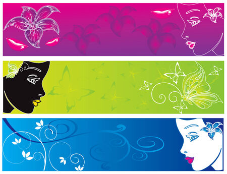 abstract color banner illustration women Illustration