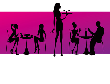 nightclub bar: bar restaurant coffee women Illustration pink