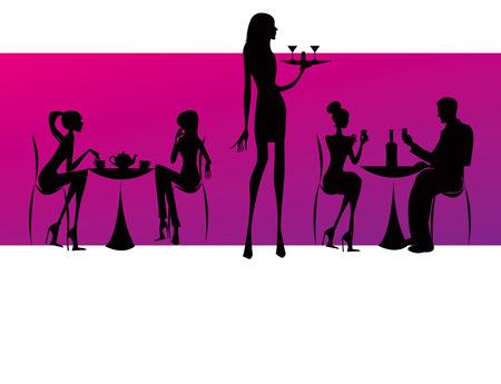 bar restaurant coffee women Illustration pink