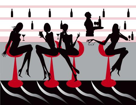 night bar: Bar Restaurante caf� mujeres ilustraci�n