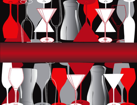 Bar restaurant lounge koffie vector illustratie wijn schotel