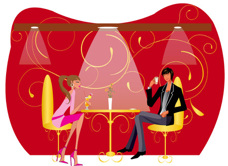 Bar restaurant lounge koffie vrouwen vector illustratie