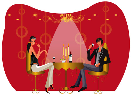bar restaurant lounge coffee women Illustration vector Stock Vector - 8712528