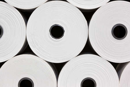 industrial objects equipment: A set of White Paper Rolls fro POS Printers Stock Photo