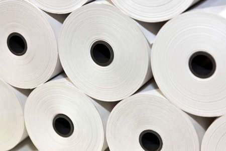 roll of paper: A set of White Paper Rolls fro POS Printers Stock Photo