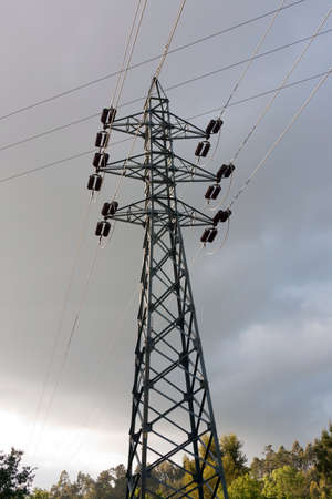 High Voltage Pylon  against woods and cloud sky
