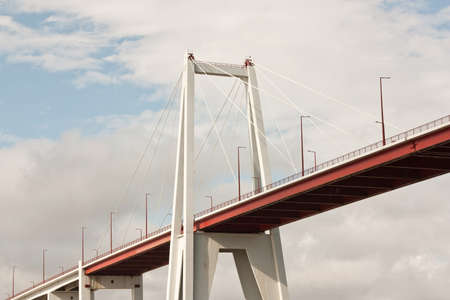 Low perspective view of a Bridge over the Mondego River in Figueira da Foz, Portugal. photo