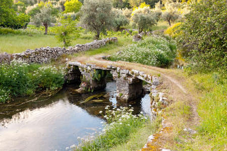 pastoral scenery: Stone bridge over small river against rural landscape