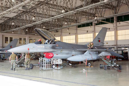 hight tech: MONTE REAL, PORTUGAL-APRIL 7: F-16 Portuguese on hangar for maintenance on April 7,2011 in Monte Real, Portugal  Editorial