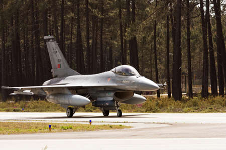 MONTE REAL, PORTUGAL-APRIL 7: Portuguese F16 taxing. Participating in Real Thaw Nato exercise at Base N.5 MONTE REAL,integrated in Fap and Nato on April 7,2011 in Monte Real, Portugal