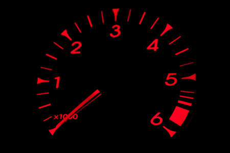 Red light RPM dial, part of car dashboard photo