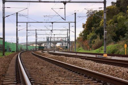 Empty Railway near Portuguese train station on cloudy Day