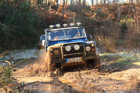 SERTÃ, PORTUGAL - JANUARY 29: Jeep participating on a portuguese 4X4 adventure race in Sertã, Portugal on January 29, 2012.