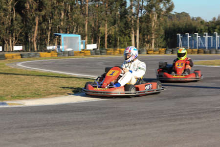 LEIRA, PORTUGAL - JANUARY 28: Go Kart Race with some national rally pilots in Leiria, Portugal on January 28, 2012.