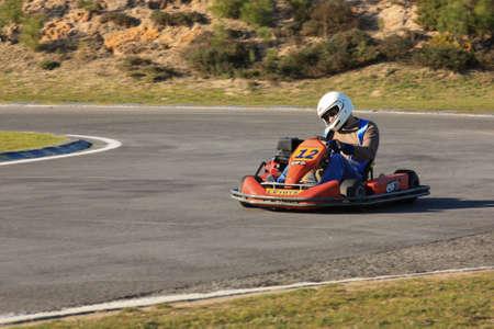 LEIRIA, PORTUGAL - JANUARY 28: Go Kart Race with some national rally pilots in Leiria, Portugal on January 28, 2012.