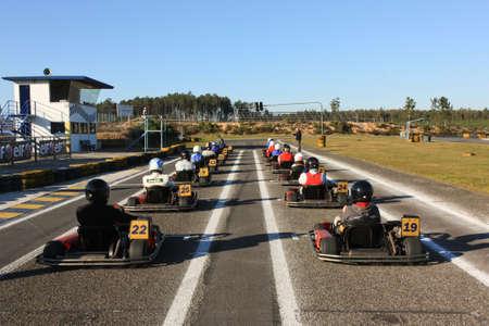 LEIRIA, PORTUGAL - JANUARY 28: Go Kart Race grid with some national rally pilots in Leiria, Portugal on January 28, 2012.
