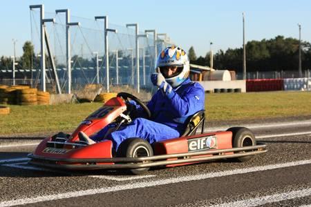 LEIRIA, PORTUGAL - JANUARY 28: Go Kart Race grid with some national rally pilots in Leiria, Portugal on January 28, 2012.