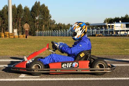 go kart: LEIRIA, PORTUGAL - JANUARY 28: Go Kart Race grid with some national rally pilots in Leiria, Portugal on January 28, 2012.