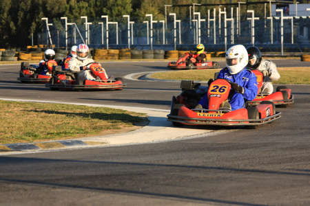 go kart: LEIRIA, PORTUGAL - JANUARY 28: Go Kart Race with some national rally pilots in Leiria, Portugal on January 28, 2012.