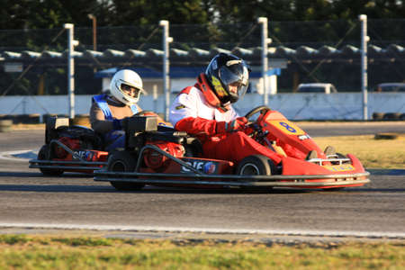 LEIRIA, PORTUGAL - JANUARY 28: Go Kart Race with some national rally pilots in Leiria, Portugal on January 28, 2012.