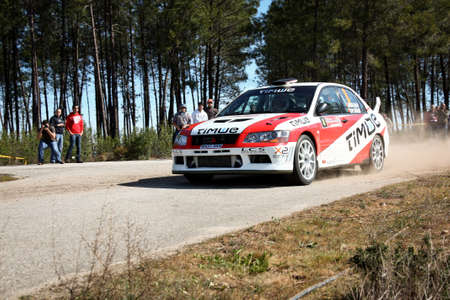 CASTELO BRANCO, PORTUGAL - MARCH 10: Diogo Salvi drives a Mitsubishi Lancer EVO VII during Rally Castelo Branco 2012, integrated on Open Championship in Castelo Branco, Portugal on March 10, 2012.