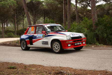 MARINHA GRANDE, PORTUGAL - APRIL 14: Anibal Rolo drives a Renault 5 Turbo during Rally Vidreiro 2012, integrated on Open Championship in Marinha Grande, Portugal on April 14, 2012. Editorial