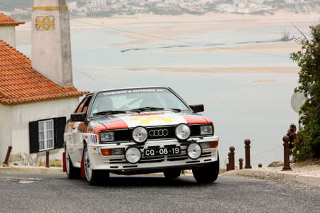 hillclimb: FOZ DO ARELHO, Portugal - 13 de mayo: Cipriano Antunes conduce un Audi Quattro Rally Sprint en Foz do Arelho 2012, en Foz do Arelho, Portugal el 13 de mayo 2012 Editorial