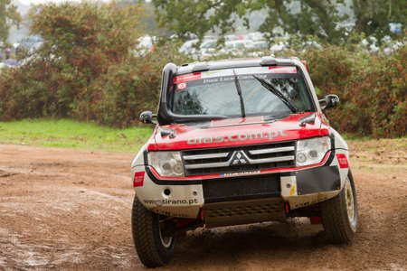 PORTALEGRE, PORTUGAL - NOVEMBER 3: Jose Lucas drives a Mitsubishi Pajero in BAJA 500, integrated on FIA World Cup for Cross-Country Rallies, in Portalegre, Portugal on November 3, 2012.