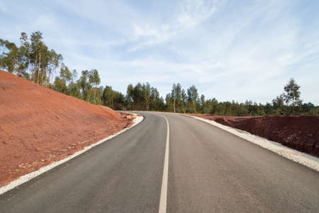 View of an almost finished tarmac road in Portugal photo
