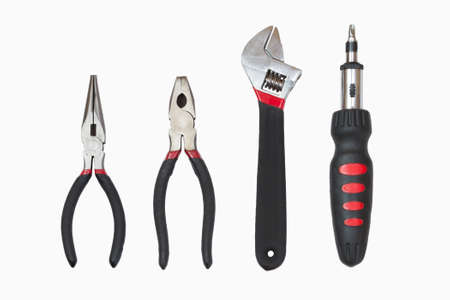 Basic set of tools isolated on white background photo