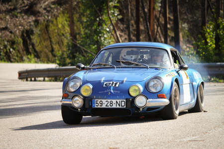 LEIRIA, PORTUGAL - FEBRUARY 2: Carlos Brizido drives a Renault Alpine 1600 during 2013 Amateur Winter Rally, in Leiria, Portugal on February 2, 2013.