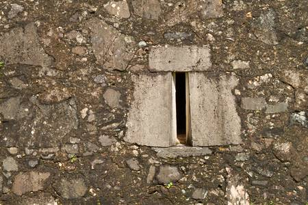Stone ancient facade window from an fortress in Portugal photo