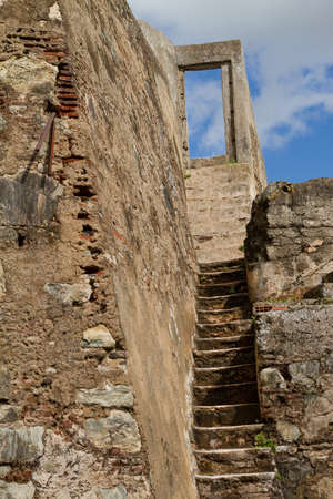Old stone stairway with views over the sky Stock Photo