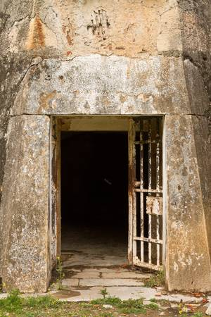 Stone ancient facade door  from an fortress in Portugal Stock Photo