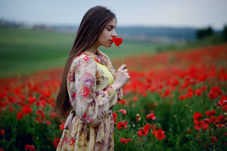 A young woman with long brown-haired wearing in floral dress, standing with back in the red poppies flowers field, smells poppy, on beautiful summer landscape background. Horizontal view.