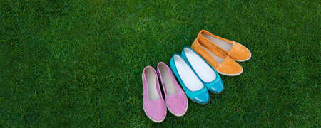 Frame image of a colored a lot of pairs of a summer shoes, arranged on green grass, copy space.