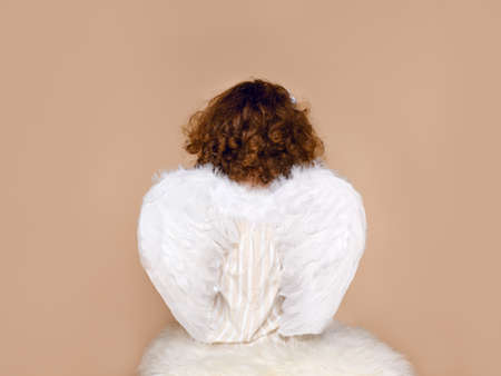 Rear view of a little girl in wings, wearing in dress seated in studio, over beige background. Valentines day. Cupidon.