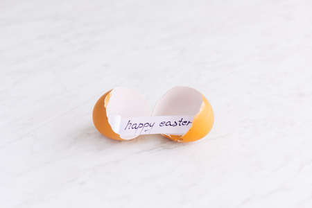 Easter concept. Broken eggshell with Happy Easter greeting card