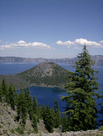 Crater Lake with Wizard Island in Foreground photo