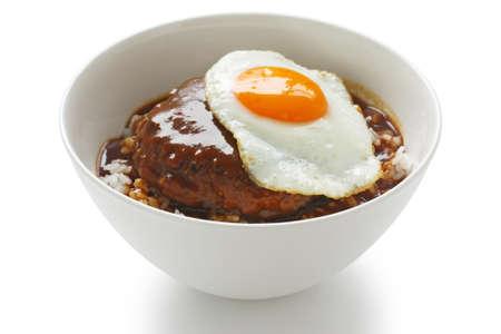 loco moco , hawaiian rice bowl dish