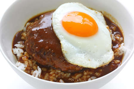 loco moco , hawaiian rice bowl dish Stock Photo
