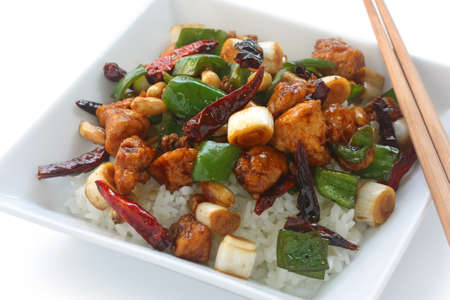 kung: kung pao chicken over rice , chinese food